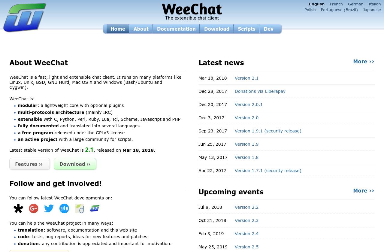 WeeChat dev news